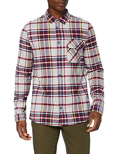Tommy Jeans Herren TJM Flannel Plaid Shirt Hemd, Lt Grey Htr/Multi, L