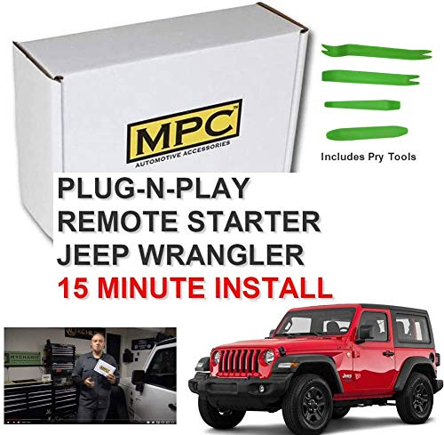 MPC Remote Start for Jeep Wrangler 2007-2018 Key-to-Start - Plug N Play - Use Your Factory Remotes - Easy 15 Minute Install - Includes (4) Piece Install Pry Tool Set - Premium USA Tech Support