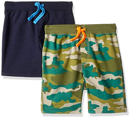 Amazon/ J. Crew Brand- LOOK by Crewcuts Boys' 2-Pack Knit Pull on Shorts, Camo/Navy, Small (6/7)