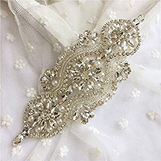 Fabrichouse Beaded Crystal Rhinestone Applique Pieces for Sewing Bridal Wedding Dress Belt and Sash Handmade Decor Hotfix Clothing Accessories (Silver)