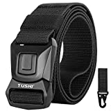 WONDAY Tactical Belt, Military Style Heavy Duty Tactical Belt for Men, No-Hole Adjustable Nylon Webbing Belt with Press Quick Release Alloy Buckle for Men/Women