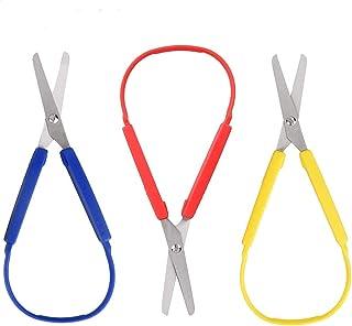 Sponsored Ad - POWERER 3-Pack Loop Scissors DIY Craft Loop Scissors Grip Scissors for Teens and Adults, Easy-Open Squeeze ...