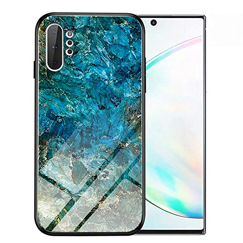Note10 Pro Hülle Marmor, Note10+ 5G Hülle, kompatibel mit Samsung Galaxy Note 10 Plus Hüllen, Handy-Bumper Schutz Slim SN10 10+ Gaxaly Glaxay Hartglas Rückseite 2019 TPU 6.8 Zoll, smaragdgrün
