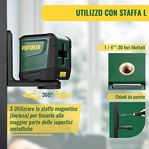 Livella Laser Verde 30M, POPOMAN Livella Laser a Croce, Autolivellante, Borsa per Trasporto, Supporto Magnetico, 360° Rotante, IP54 - TPLL01D