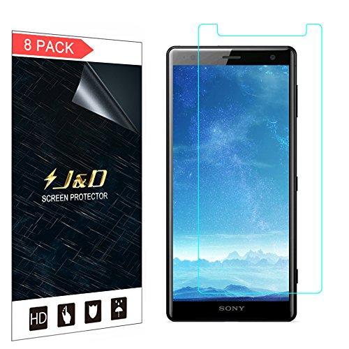 J&D Compatibile per 8 Confezioni Xperia XZ2 Pellicola Protettiva, [Non Piena Copertura] Premium Trasparente Protezione Schermo per Sony Xperia XZ2 - [Non Compatibile con Sony XZ2 Compact]