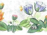 Dundee Deco BD6310 Tapeten Bordüre, vorgekleistert, florales Design, orange, grün, pink, azurblaue Blumen, Frosch, Schmetterling, gewellter Tapetenbordüre Retro-Design, 4,57 m x 16,5 cm