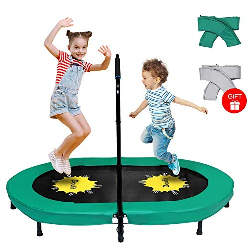 Doufit Trampoline for Kids and Adults with Adjustable Handle, TR-01 Double Jumping Fitness Rebounder Foldable Trampoline for Indoor and Outdoor Exercise with Additional Spring Pad