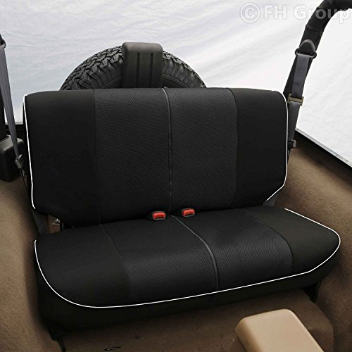 FH Group FB063010S2 Cloth Car Bench Seat Covers with Piping Rear Set