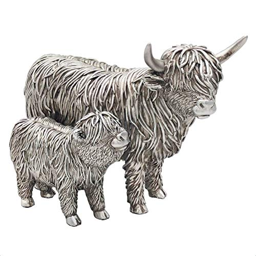 The Leonardo Collection LP46897 Highland Cow and Calf Ornament, Silver Colour, 19x11x14cm