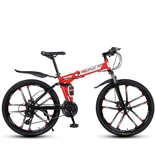 TYX-SS 26 Inch Folding Mountain Bike for Adult, Lightweight Aluminum Frame Fully Suspention Road Bikes with Suspension Fork Disc Brake,Red 10 Spoke,24 Speed