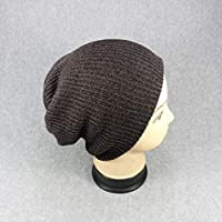 Gang-LL 帽子 ユニセックスの新しい冬の帽子の女性のコットンソリッドウォームホット販売HIP HOPニット帽子男性女性がSkulliesビーニーキャップ (Color : Brown)