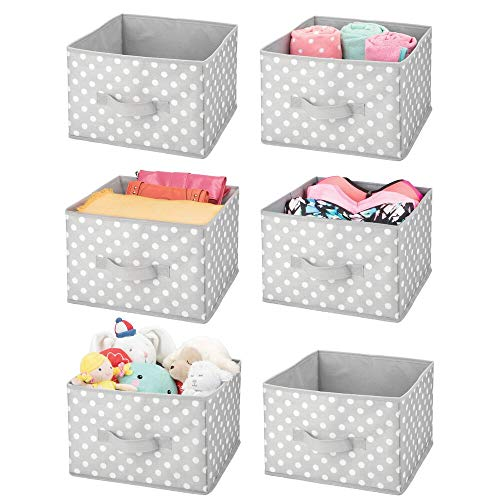 mDesign Soft Fabric Closet Storage Organizer Bin Box - Front Built-in Handle, for Kid's/Toddler's Bedroom, Nursery, Toy Room - Textured Print - 6 Pack - Gray/White