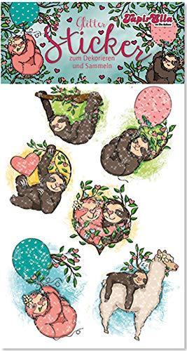 Neu 2019: Glitter-Sticker * SÜSSE Faultiere * von Lutz Mauder | 72303 | als Mitgebsel für Kinder | Faultier Aufkleber zum Kindergeburtstag & Basteln