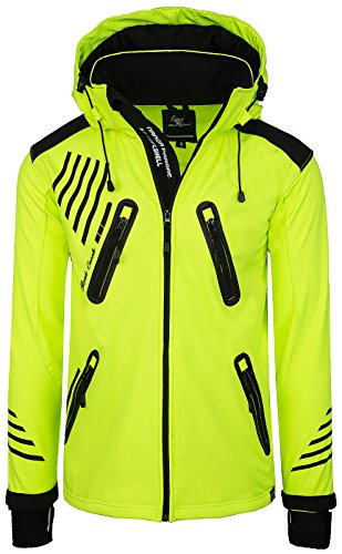 Rock Creek Herren Softshell Jacke Outdoorjacke Windbreaker Übergangs Jacke H-140 [Neonyellow L]