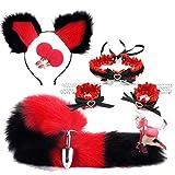 forocean * Collar y Brazalete de Lolita de Encaje Rojo y Negro Fox/Puppy Tail Ànâ.Les B ~ ütt Pùg Nïpplê Clïp Cospaly Set de Fiesta para Hombre y Mujer (Tail-S)