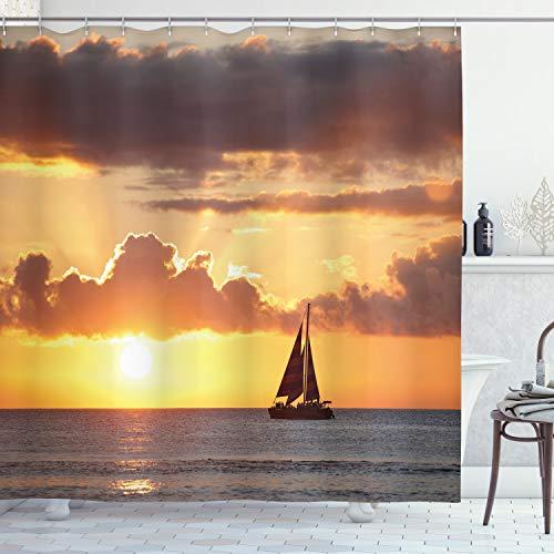ABAKUHAUS Ozean Duschvorhang, Boot im Meer mit Sonnenuntergang, Moderner Digitaldruck mit 12 Haken auf Stoff Wasser & Bakterie Resistent, 175 x 240 cm, Grau & Ringelblume