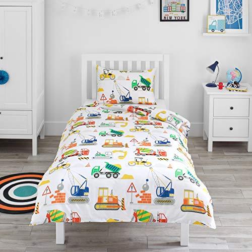 Bloomsbury Mill - Baufahrzeuge – Lastwagen, Bagger & Kräne - Bettwäscheset für Kinder - Bettbezug 135cm x 200cm und Kissenbezug für Einzelbett