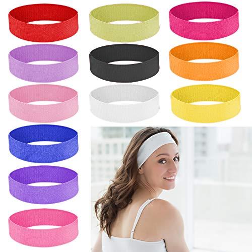 None/Brand Diadema Deportiva, Cinta Sudor Cabeza Ligera para la Cabeza Yoga Correr Quick Dry Stretchy Banda de Cabeza, 12 Pack