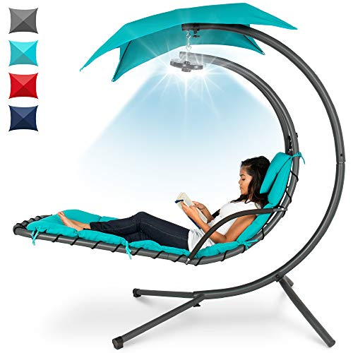 Best Choice Products Hanging LED-Lit Curved Chaise Lounge Chair Swing for Backyard, Patio, Lawn w/ 3 Light Settings, Weather-Resistant Pillow, Removable Canopy Shade, Steel Stand - Teal