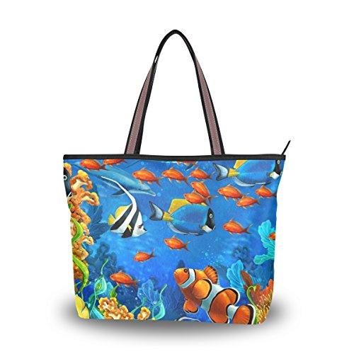 Ahomy Bolsa de hombro de coral con estrellas de mar tropical, grande, ligera, para gimnasio, senderismo, picnic, viajes, playa, color Multicolor, talla L