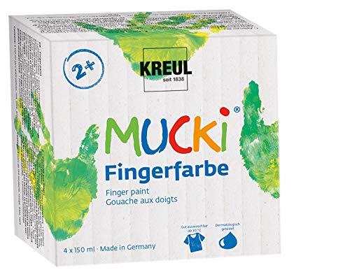 Kreul 2314 - Mucki leuchtkräftige Fingerfarbe, 4 x 150 ml in gelb, rot, blau und grün, parabenfrei, glutenfrei, laktosefrei und vegan, auswaschbar, vermalbar mit Pinsel, Schwamm und Fingern
