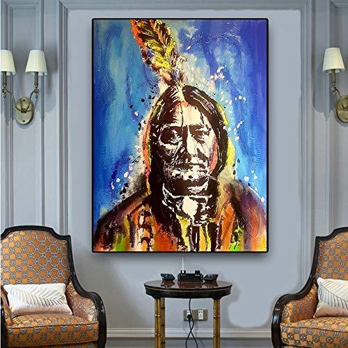 Geiqianjiumai Indische Indigene Feder Porträt Ölgemälde auf Leinwand Poster und Druck skandinavischen Wohnzimmer Wandbild rahmenlose Malerei 75x100cm