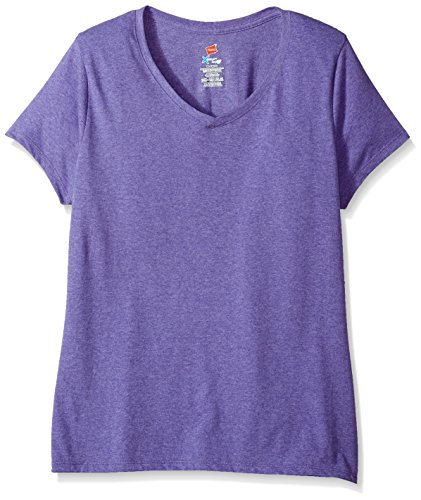 Hanes Women's X-Temp Short Sleeve V-Neck Tee with FreshIQ, Grape Heather, X Large