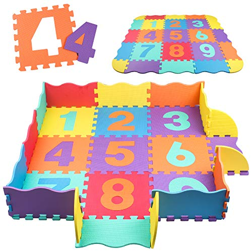 Swonuk Baby Play Mat with Fence 0.39 inch Thick Interlocking Foam Floor Tiles Kids Puzzle Mat Baby Crawling Mat (Numbers)