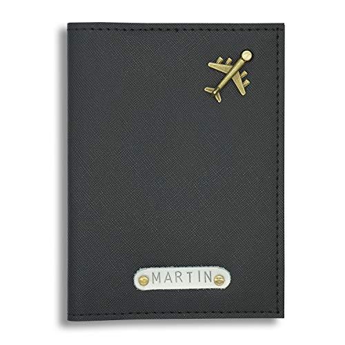 Personalisierte Reisepasshülle mit Name & Symbol - stylische Hülle für den Reisepass - Passport - Reiseetui - Reise Gadget (Schwarz)
