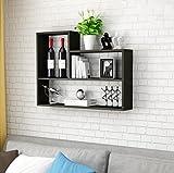 HQQ Estantes de Pared Creativo Estante Sala de Estar Dormitorio Cocina Gabinete Colgante Simple TV Fondo Pared Decorativa Marco Decoración de la Pared (Tamaño: 80 * 60 * 15cm) (Color : Negro)