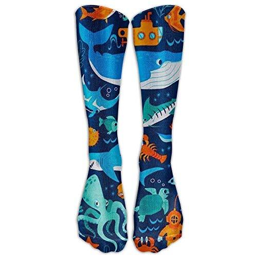 zhouyongz Sharks And Sea Creatures Athletic Tube Strümpfe Damen Herren Classics Kniestrümpfe Sport Lange Socken