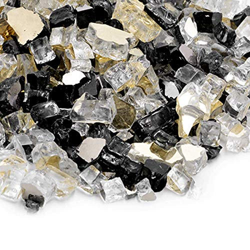 Skyflame 10-Pound Blended Fire Glass for Fire Pit Fireplace Landscaping - 1/2 Inch Reflective Tempered Fireglass Onyx Black, Platinum, Gold