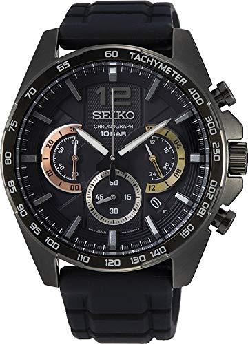 Seiko Chronograph Herren-Uhr mit Titankarbidauflage und Silikonband SSB349P1