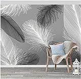 Decorativos Papel Pintado Pared Fotomurales Plumas Blancas Negras Fotomural Para Paredes Mural Vinilo Decorativo Decoración Comedores, Salones,Habitaciones 400X280Cm