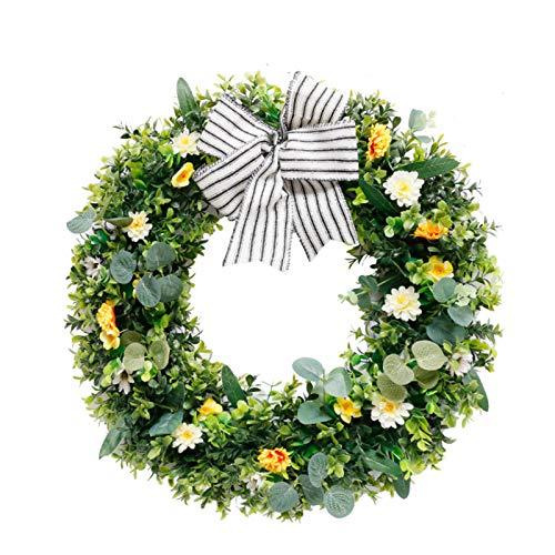 48cm Plant Simulation Garland Pastoral Style Leaf Wreath Hanging Decoration for Wall Door Wedding Window