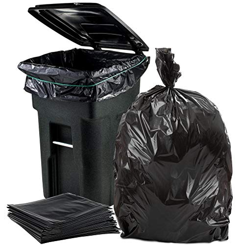 """Plasticplace 64-65 Gallon Trash Can Liners for Toter │ 1.5 Mil │ Black Heavy Duty Garbage Bags │ 50"""" x 60"""" (50 Count)"""