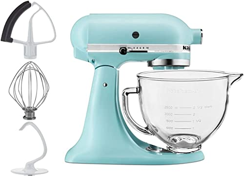 discount KitchenAid 5-Quart Tilt Head Stand online Mixer With Flex Edge Beater Glass Bowl outlet online sale Mineral Water Blue online