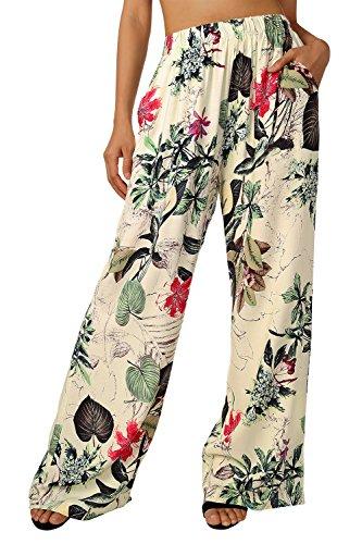 BAISHENGGT Damen Blumenmuster Locker Weite Beine Lange Hose mit Seitentaschen Apricot-Blumen S