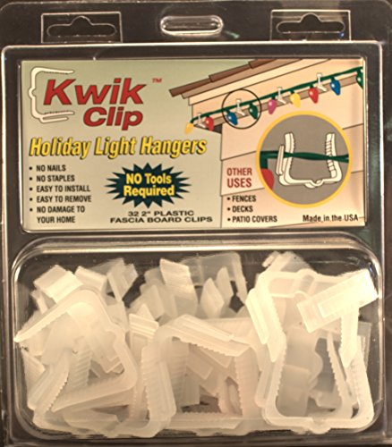 Kwik Clip Holiday Christmas Light Hangers 2' (1 5/8') Fascia Boards Clip Made in The USA