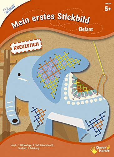 MAMMUT 161001 - Mein erstes Stickbild, Tiermotiv, Elefant, Komplettset mit Bildvorlage in Tierform, Nadel (Kunststoff), 5x Garn und Anleitung, Bastelset für Kinder ab 5 Jahre