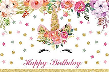 Unicorn and Flowers Garland Backdrops 5x3ft Stars Hearts Striped Background for Photography Happy Birthday