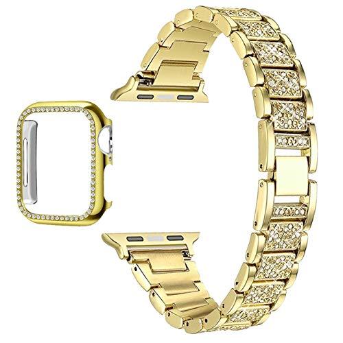 JJBFAC Diamond Case + Band para Apple Watch 6 5 4 3 2 1 Banda 44mm 40mm 42mm 38mm Steel de Acero Inoxidable Lady Mujeres Pulsera para el cinturón iWatch