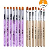 WOKOTO 14 Pcs Nail Brush Pen Set Uv Gel Acrylic Nail Art Tips Builder Brush Nail...