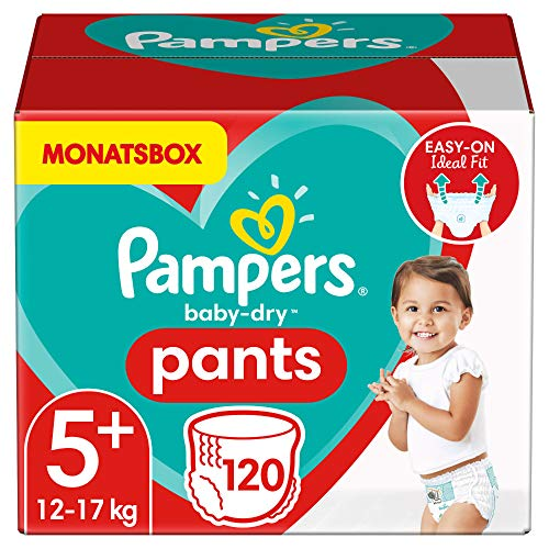 Pampers Größe 5+ Baby Dry Windeln Pants, 120 Stück, MONATSBOX, Für Atmungsaktive Trockenheit (12-17kg)
