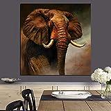 hetingyue Impresiones abstractas Lienzo Mural Elefante Africano Paisaje Pintura al óleo Lienzo Moderno Animal Imagen póster Sala de Estar 60x60 cm