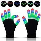 YXwin Led Gloves Light Up Kids Toys Rave Glowing Gloves Finger Lights 3 Colors 6 Modes Flashing Gloves Halloween Costume Birthday EDM Party Christmas Toys for Boys Girls Age(8-25)