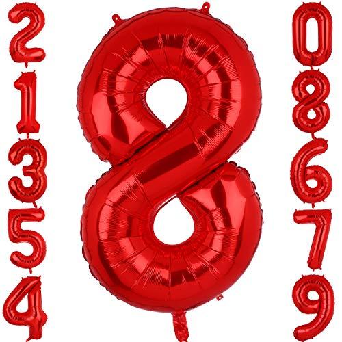 Big Eye Owl 100 cm Groß Rot Zahl 8 Folienballon Luftballon Folien Mylar Riese MäDchen Helium Luftballons Geburtstag Party Deko Lieferungen Baby