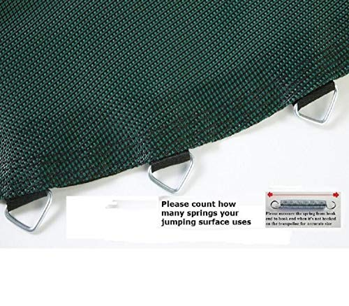 JumpKing Unisex-Adult, Unisex-Youth Jumping Surface 14' x 17' Oval Trampoline with 96 V-Rings for 7' Springs (Black and Green), 13' -15'