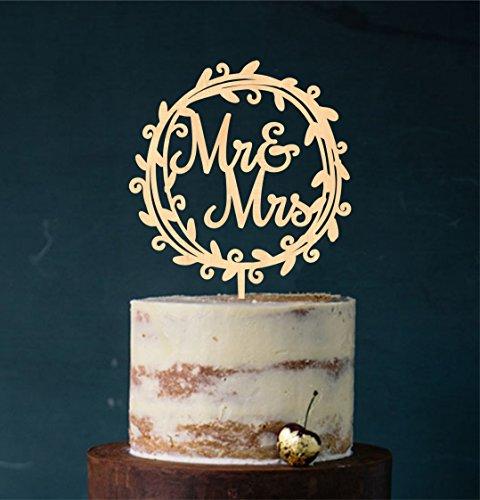 Manschin Laserdesign Cake Topper, Tortenstecker, Tortefigur Acryl, Farbwahl - Hochzeit Hochzeitstorte (Holz) - Art.Nr. 5037