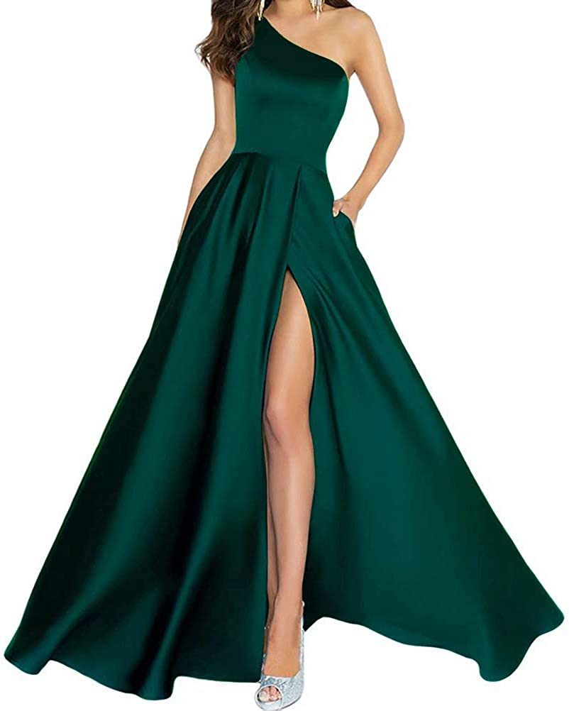 Women's One Shoulder Prom Dress Satin A Line Elegant Formal Evening Gowns Floor Length Bridesmaids Dresses Long